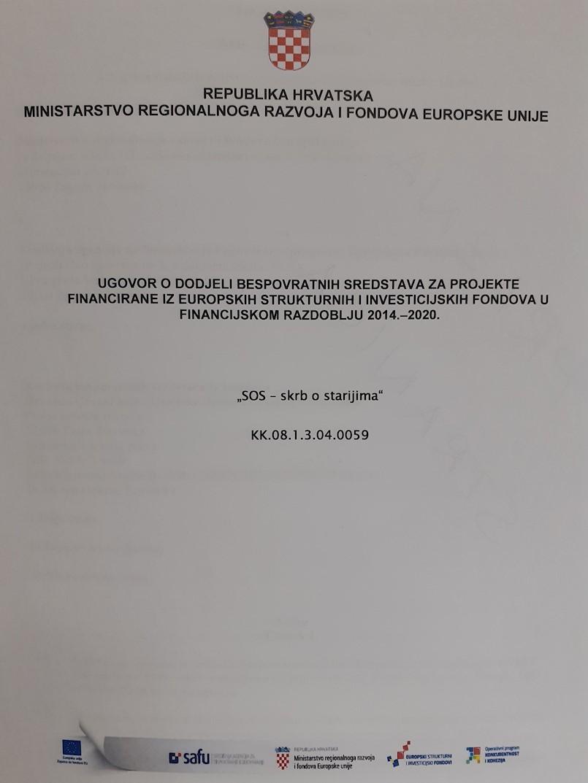 "Potpisan Ugovor o dodjeli bespovratnih sredstava za projekt ""SOS - skrb o starijima"""